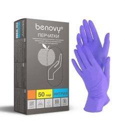 BENOVY Nitrile MultiColor, перчатки нитриловые, сиреневые, M, 50 пар в упаковке